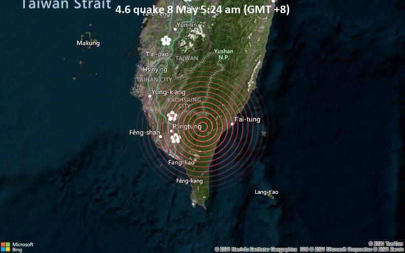 Terremoto el 8 de mayo, 4.6: 5:24 am (GMT + 8)