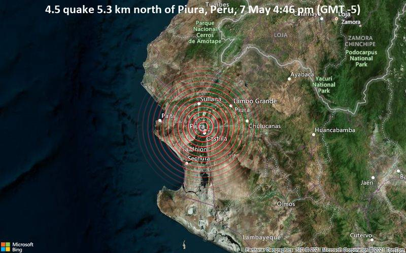 7 de mayo, 5.3 kilómetros (5.3 kilómetros) al norte de Piura, Perú, 4:46 pm (GMT -5)