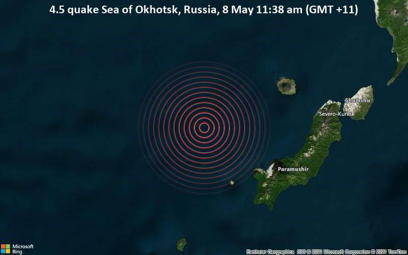 El 8 de mayo, un terremoto de magnitud 4,5 en el mar de Okhotsk, Rusia (GMT + 11)