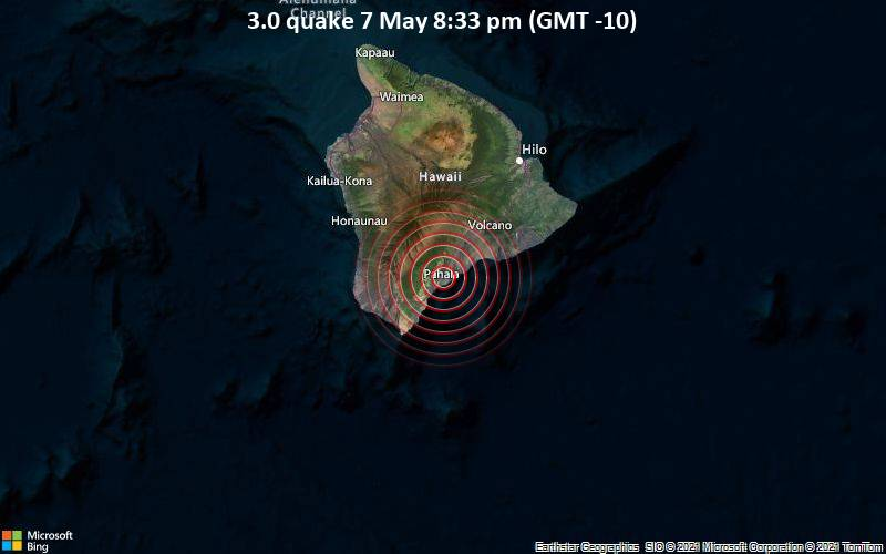 Small earthquake of magnitude 3.0 just reported 1 miles south of Pāhala, Hawaii, United States / VolcanoDiscovery