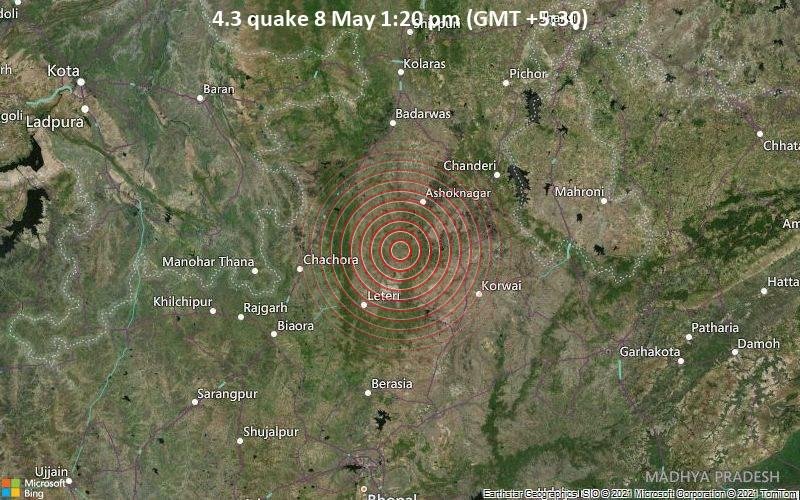 4.3 quake 8 May 1:20 pm (GMT +5:30)