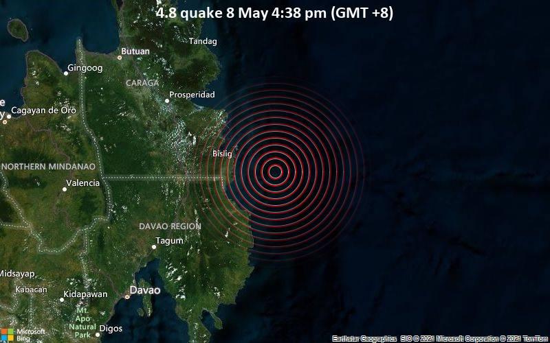 4.8地震5月8日午後4時38分(GMT +8)
