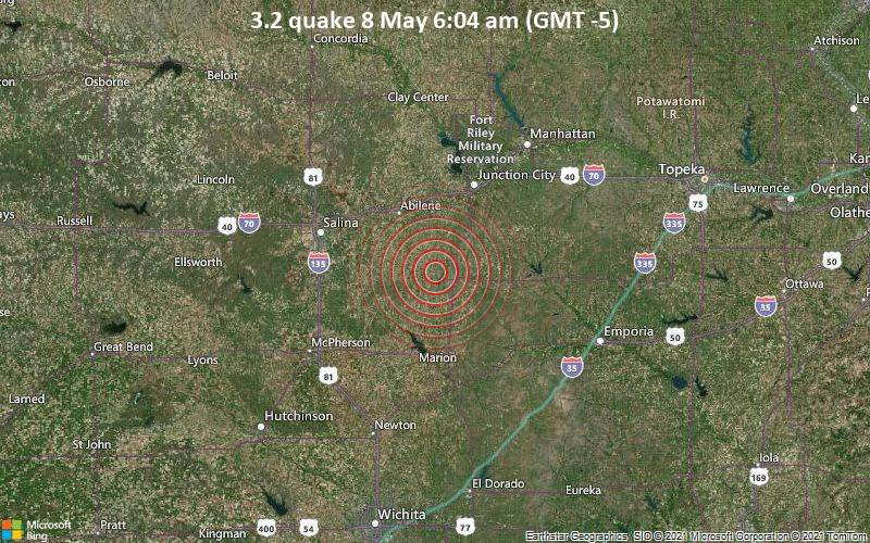 Magnitude 3.2 earthquake strikes near Junction City, Geary County, Kansas, USA / VolcanoDiscovery