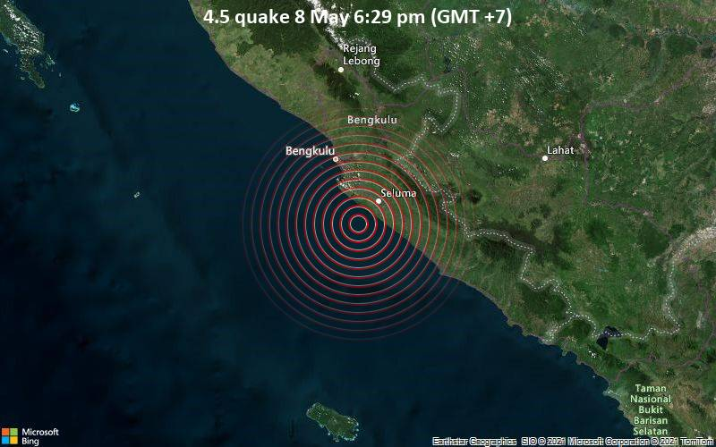 Moderate magnitude 4.5 quake hits 45 km southeast of Benkulu, Indonesia early evening / VolcanoDiscovery