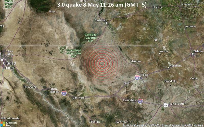 3.0地震5月8日午前11時26分(GMT -5)