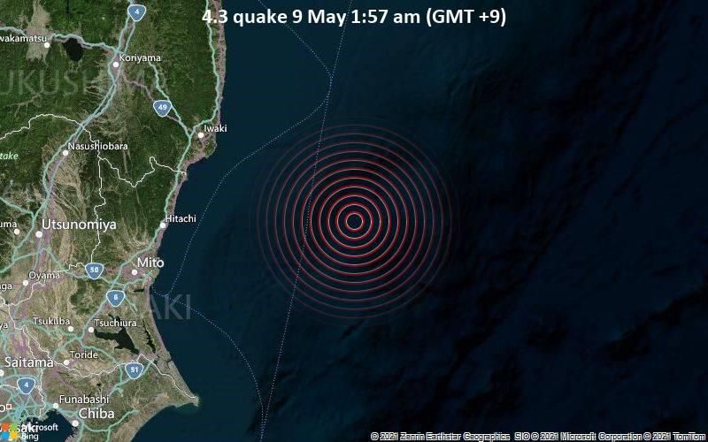4.3 quake 9 May 1:57 am (GMT +9)