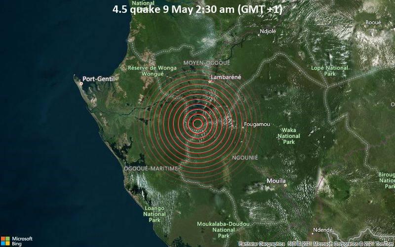 Moderates Erdbeben der Stärke 4.5 - 55 km südlich von Lambarene, Moyen-Ogooué, Gabun, am Sonntag,  9. Mai 2021 um 01:30 GMT