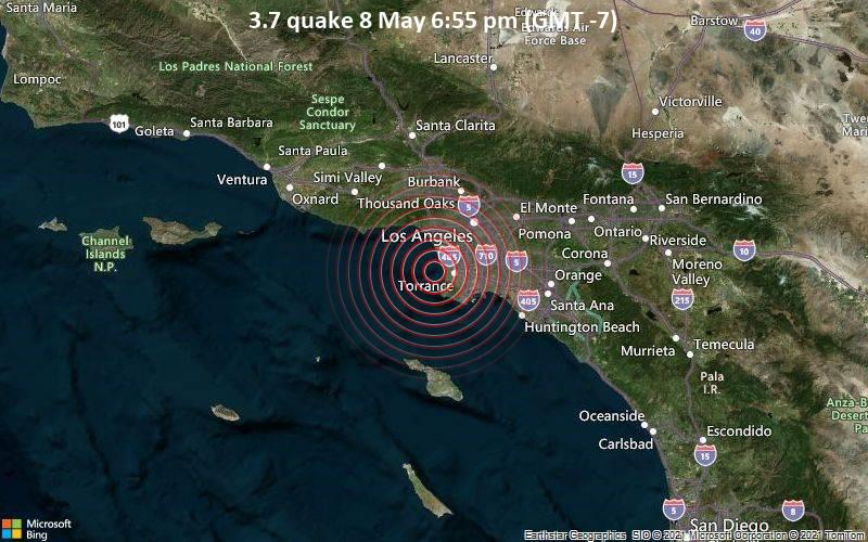 Leichtes Erdbeben der Stärke 3.7 - Nordpazifik, 5.6 km westlich von Redondo Beach, Los Angeles County, Kalifornien, USA, am Samstag,  8. Mai 2021 um 18:55 Lokalzeit