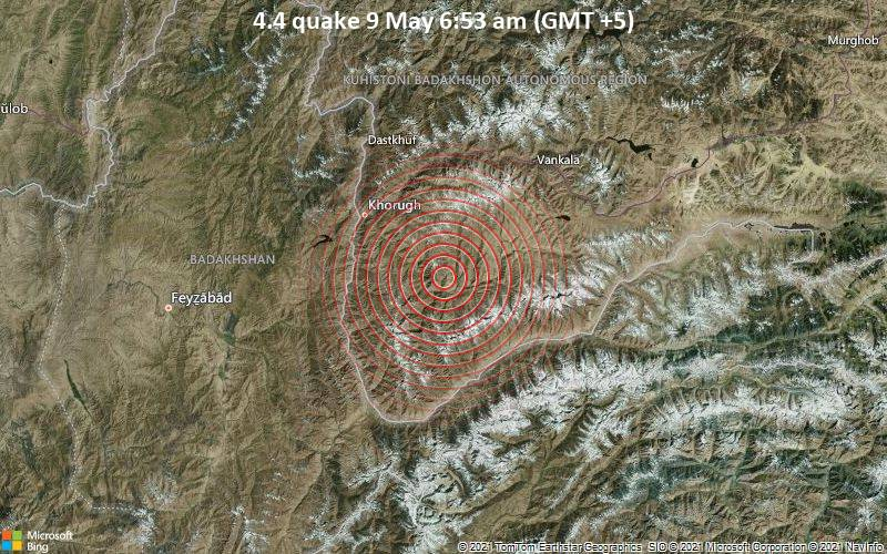 Leichtes Erdbeben der Stärke 4.4 - 65 km nordöstlich von Ishqoshim, Ishkoshim, Gorno-Badakhshan, Tadschikistan, am Sonntag,  9. Mai 2021 um 06:53 Lokalzeit