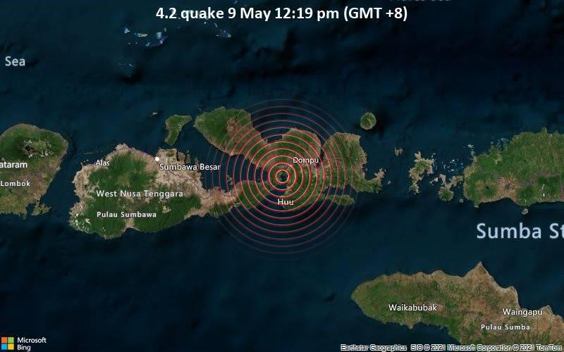 Leichtes Erdbeben der Stärke 4.2 - Indischer Ozean, 12 km südwestlich von Dompu, West Nusa Tenggara, Indonesien, am Sonntag,  9. Mai 2021 um 04:19 GMT