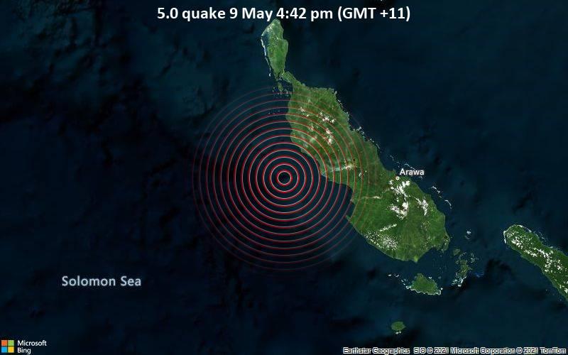 Moderates Erdbeben der Stärke 5.0 - Solomon Sea, 98 km westlich von Arawa, Bougainville, Papua-Neuguinea, am Sonntag,  9. Mai 2021 um 05:42 GMT