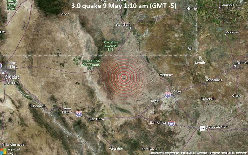 Leichtes Erdbeben der Stärke 3.0 - Culberson County, Texas, 84 km südlich von Carlsbad, Eddy County, New Mexico, USA, am Sonntag,  9. Mai 2021 um 01:10 Lokalzeit