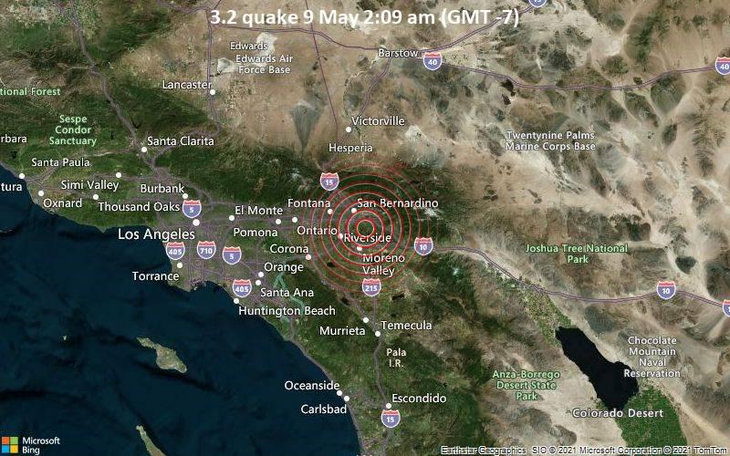 Leichtes Erdbeben der Stärke 3.2 - 5.5 km südwestlich von Redlands, San Bernardino County, Kalifornien, USA, am Sonntag,  9. Mai 2021 um 02:09 Lokalzeit