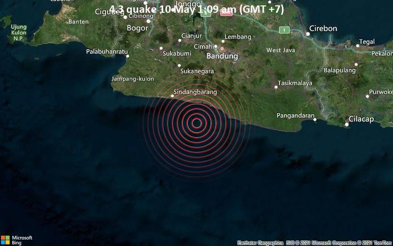Moderates Erdbeben der Stärke 4.3 - Indischer Ozean, 59 km südlich von Banjar, Westjava, Indonesien, am Sonntag,  9. Mai 2021 um 18:09 GMT