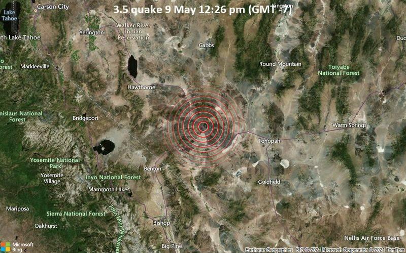 Leichtes Erdbeben der Stärke 3.5 - Esmeralda County, 69 km südöstlich von Hawthorne, Mineral County, Nevada, USA, am Sonntag,  9. Mai 2021 um 12:26 Lokalzeit