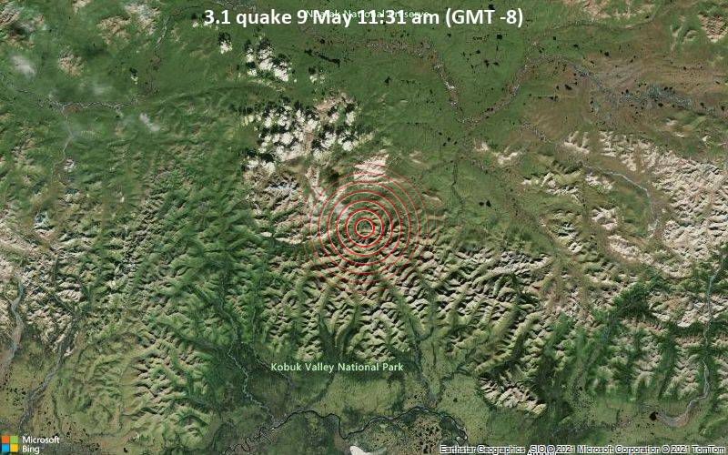 Leichtes Erdbeben der Stärke 3.1 - Northwest Arctic Parish, 176 km nordöstlich von Kotzebue, Northwest Arctic, Alaska, USA, am Sonntag,  9. Mai 2021 um 11:31 Lokalzeit