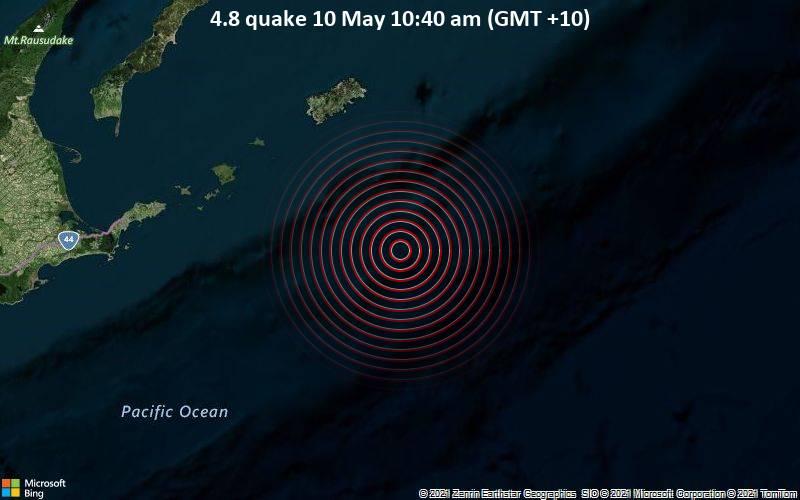 4.8 quake 10 May 10:40 am (GMT +10)