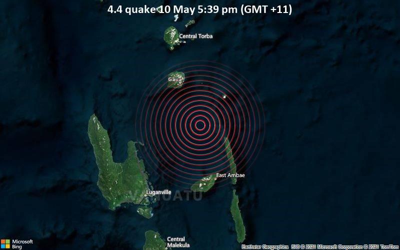 Leichtes Erdbeben der Stärke 4.4 - Korallen Meer, 82 km nordöstlich von Port-Olry, Sanma Province, Vanuatu, am Montag, 10. Mai 2021 um 06:39 GMT