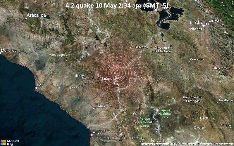 Moderates Erdbeben der Stärke 4.2 - Provincia de Tarata, 84 km nordöstlich von Tacna, Peru, am Montag, 10. Mai 2021 um 07:34 GMT