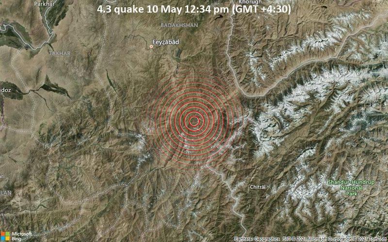 Leichtes Erdbeben der Stärke 4.3 - Yamgān, 86 km südöstlich von Fayzabad, Faīẕābād, Badakhshan, Afghanistan, am Montag, 10. Mai 2021 um 12:34 Lokalzeit