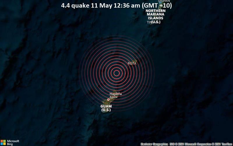Leichtes Erdbeben der Stärke 4.4 - Philippines Sea, Nördliche Marianen, 50 km nördlich von Dededo Village, Guam, am Montag, 10. Mai 2021 um 14:36 GMT