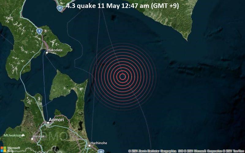 Leichtes Erdbeben der Stärke 4.3 - Nordpazifik, 74 km östlich von Mutsu, Präfektur Aomori, Japan, am Dienstag, 11. Mai 2021 um 00:47 Lokalzeit