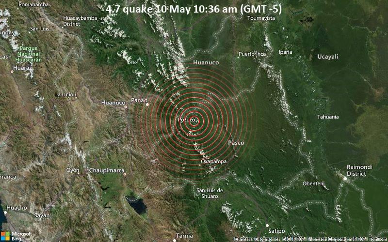 Moderates Erdbeben der Stärke 4.7 - Provincia de Oxapampa, Pasco, 86 km östlich von Huánuco, Peru, am Montag, 10. Mai 2021 um 15:36 GMT