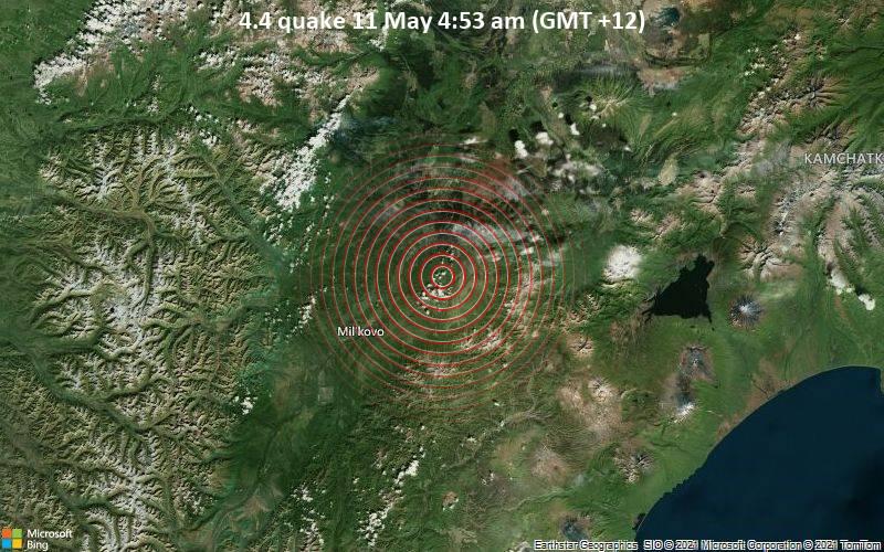 Leichtes Erdbeben der Stärke 4.4 - 31 km nordöstlich von Mil'kovo, Milkovsky District, Kamtschatka, Russland, am Montag, 10. Mai 2021 um 16:53 GMT