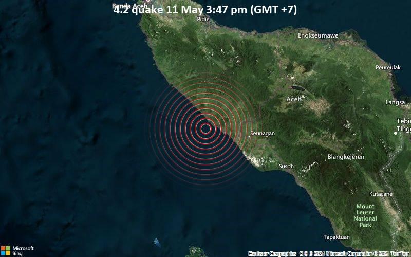 Leichtes Erdbeben der Stärke 4.2 - Indischer Ozean, 22 km westlich von Meulaboh, Kabupaten Aceh Barat, Indonesien, am Dienstag, 11. Mai 2021 um 08:47 GMT
