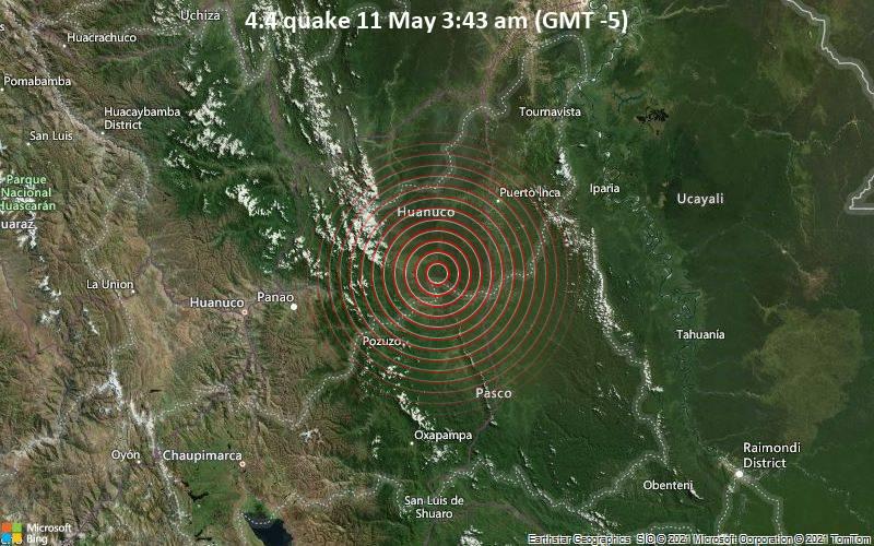 Leichtes Erdbeben der Stärke 4.4 - Puerto Inca, 92 km südöstlich von Tingo Maria, Peru, am Dienstag, 11. Mai 2021 um 08:43 GMT
