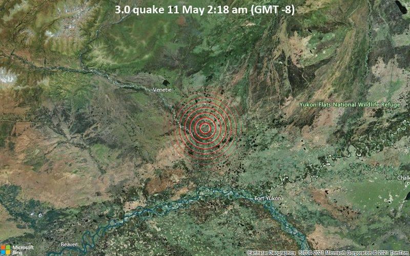 Schwaches Erdbeben Stärke 3.0 - Yukon-Koyukuk Parish, 27 km südöstlich von Venetie, Yukon-Koyukuk, Alaska, USA, am Dienstag, 11. Mai 2021 um 02:18 Lokalzeit