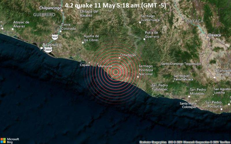 Leichtes Erdbeben der Stärke 4.2 - San Nicolás, 30 km südlich von Ometepec, Guerrero, Mexiko, am Dienstag, 11. Mai 2021 um 05:18 Lokalzeit