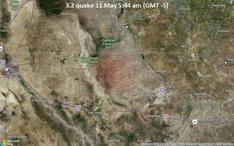 Leichtes Erdbeben der Stärke 3.2 - Culberson County, Texas, 84 km südlich von Carlsbad, Eddy County, New Mexico, USA, am Dienstag, 11. Mai 2021 um 05:44 Lokalzeit