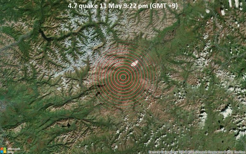 Moderates Erdbeben der Stärke 4.7 - 25 km südwestlich von Novaya Chara, Transbaikalien, Russland, am Dienstag, 11. Mai 2021 um 12:22 GMT