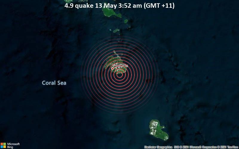 4.9 quake 13 May 3:52 am (GMT +11)