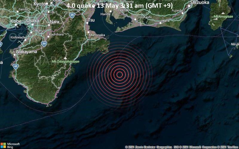 4.0 quake 13 May 3:31 am (GMT +9)