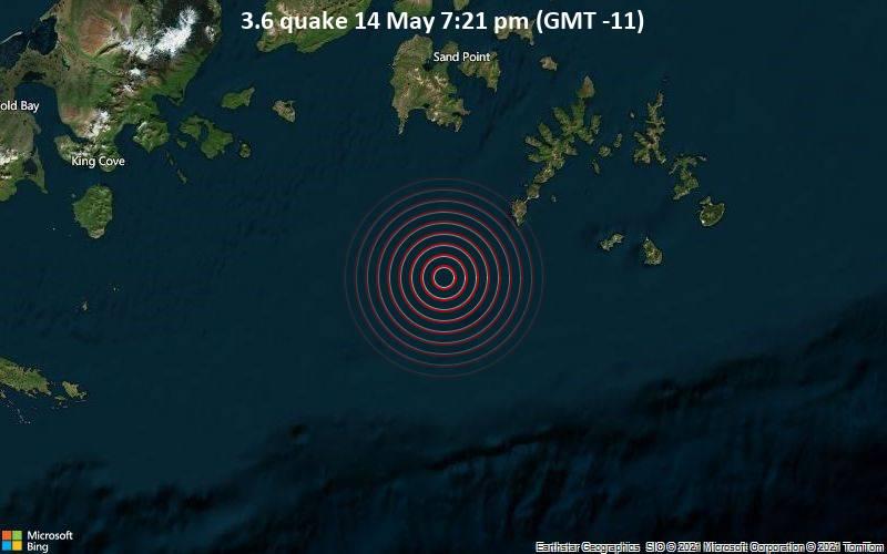 3.6 quake 14 May 7:21 pm (GMT -11)