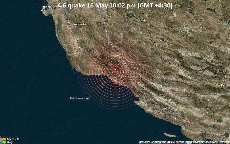 4.6 quake 16 May 10:02 pm (GMT +4:30)