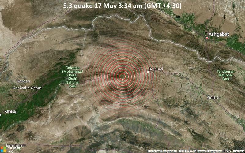 5.3 quake 17 May 3:34 am (GMT +4:30)