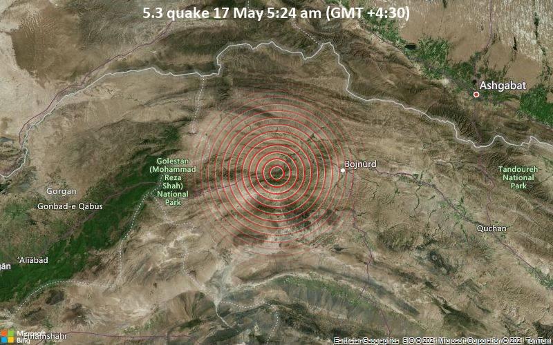 5.3 quake 17 May 5:24 am (GMT +4:30)