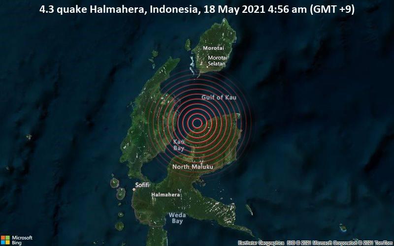 4.3 quake Halmahera, Indonesia, 18 May 2021 4:56 am (GMT +9)