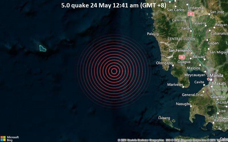5.0 quake 24 May 12:41 am (GMT +8)