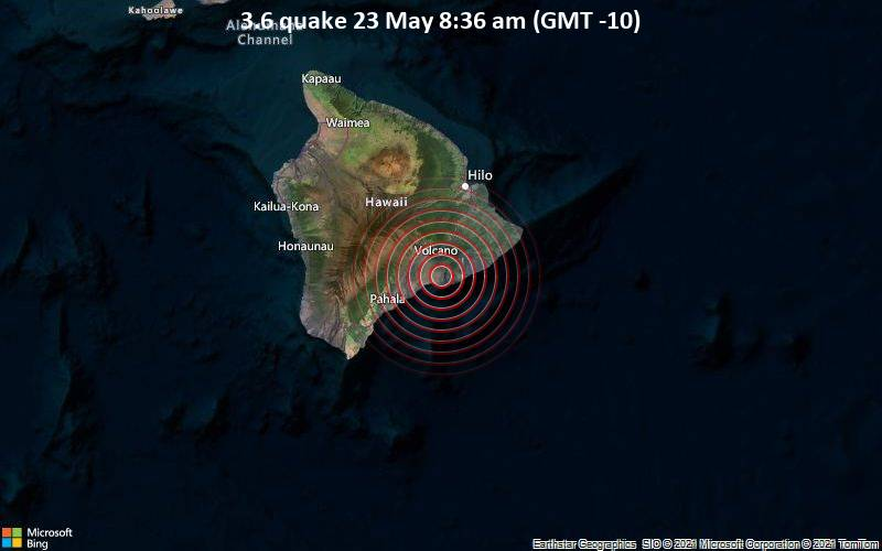 3.6 quake 23 May 8:36 am (GMT -10)