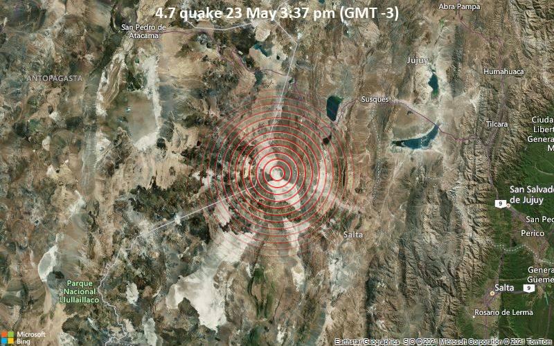 4.7 quake 23 May 3:37 pm (GMT -3)