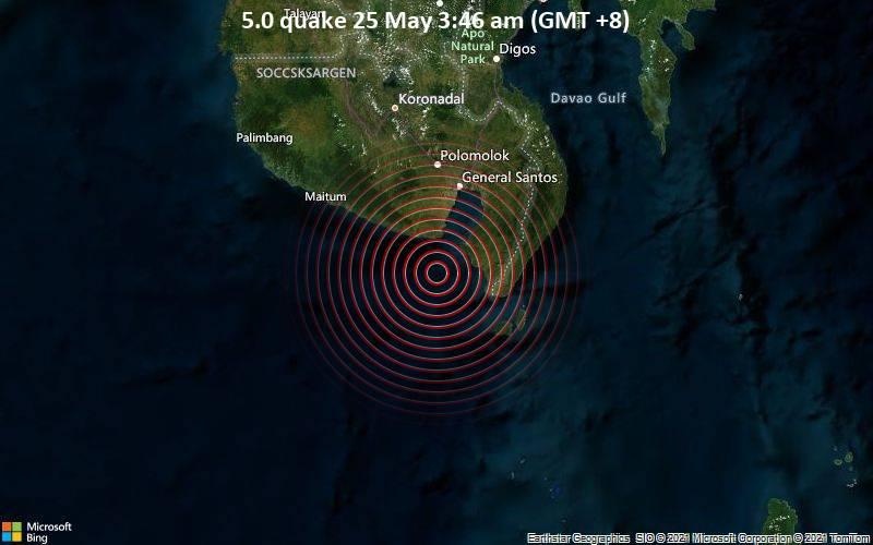 5.0 quake 25 May 3:46 am (GMT +8)