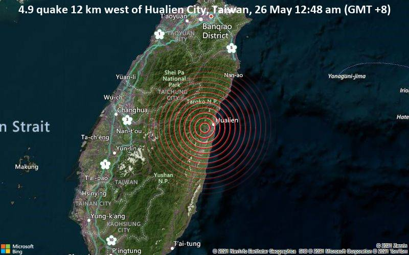 4.9 quake 12 km west of Hualien City, Taiwan, 26 May 12:48 am (GMT +8)