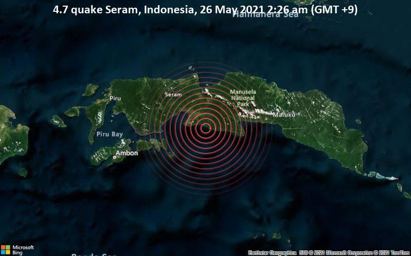 4.7 quake Seram, Indonesia, 26 May 2021 2:26 am (GMT +9)