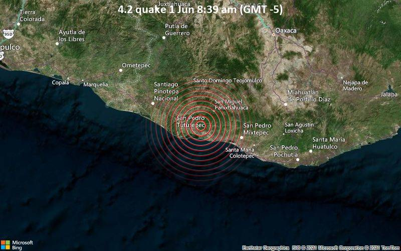 Moderates Erdbeben der Stärke 4.2 - Chacalapa, 55 km nordwestlich von Puerto Escondido, Mexiko, am Dienstag,  1. Jun 2021 um 08:39 Lokalzeit