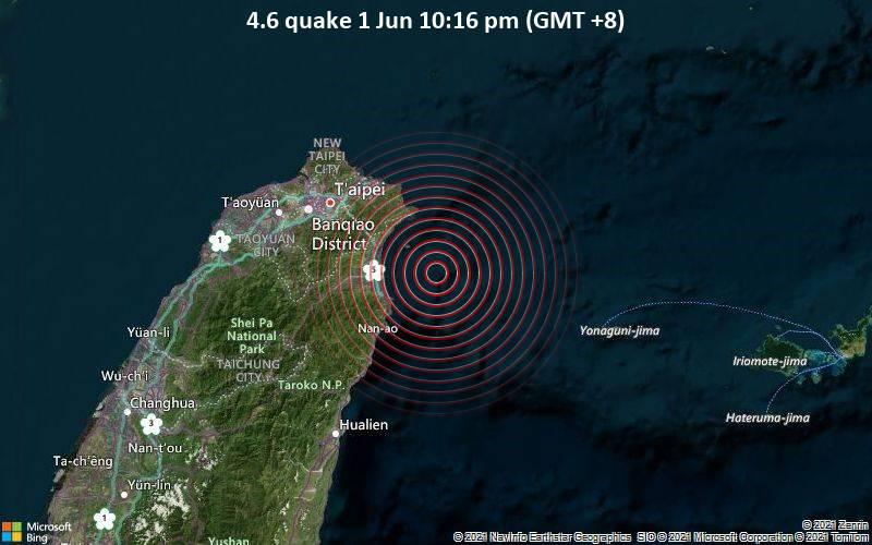 Moderates Erdbeben der Stärke 4.6 - Philippines Sea, 35 km östlich von Ilan, Taiwan, am Dienstag,  1. Jun 2021 um 14:16 GMT
