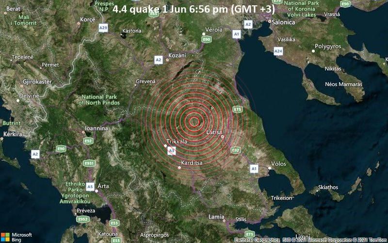 Moderates Erdbeben der Stärke 4.4 - 32 km nordwestlich von Larisa, Nomos Larisis, Thessalien, Griechenland, am Dienstag,  1. Jun 2021 um 18:56 Lokalzeit